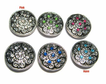 1pc 19mm Silver Tone Round Snap Buttons Charms With Rhinestones Knob Size 5~5.5mm (No.9)