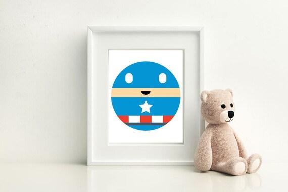 Captain America Little Boy- Nursery and Children's Room art print