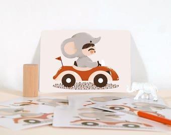 Card - Les Adorables Costumés  :  the elephant