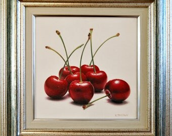 Still life with Cherries, Canvas painting, Ready to Hang, Framed Art, Hyperrealism, Miniature, Food , Fruit Art, Gift, Modern , 7,9 x 7,9 in