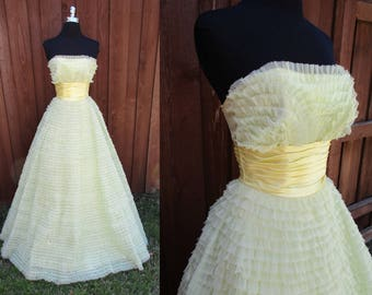 Yellow Tulle Ruffled Prom Dress Strapless Vintage Prom Dress Layers and Layers of Ruffles Satiny Waist Sz XS