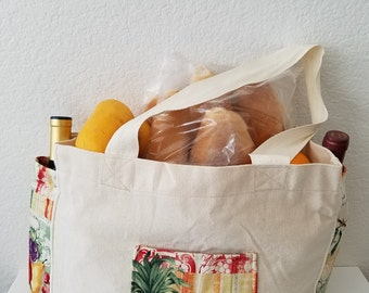 Grocery bag, tote, market bag. Free shipping.