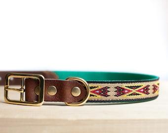 "Custom Leather Red/Black/Yellow Dog Collar. Navajo Sand 1"""