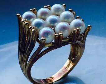 Gold Antique Womans Ring with Mikimoto Pearls from SterlinGold Treasures