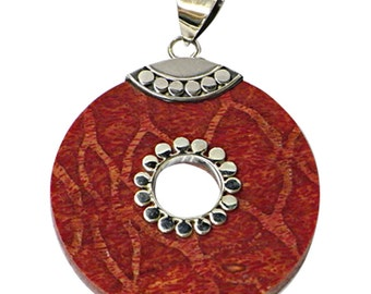 Round Silver Pendant with coral, approx. 4, 0 cm Ø hole circles almond coral 925 Sterling Silver (No. AK-27)