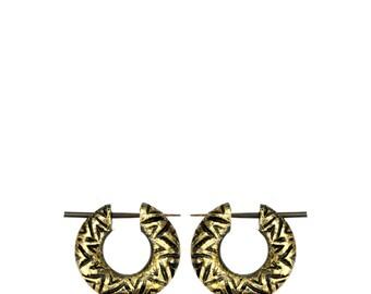 Wood hoops Narraholz Horn-PIN pin golden painted handmade zigzag (CPO-112-1)