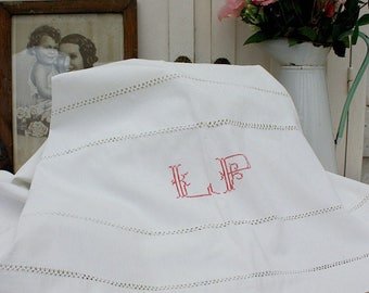 French Linen Sheet / Linen Sheets / Linen Bedding /  Embroidered Sheet / French Linen / Hand Embroidered / Flat Sheet / Antique Linen
