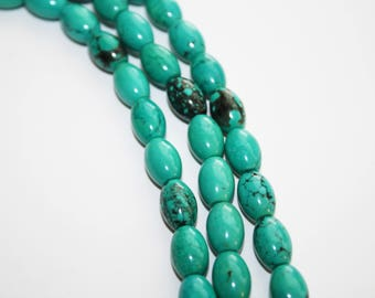 Turquoise Rice Shape Beads,  - 11x8mm - 32ct #D177
