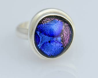 Ring Foiled Glass 925 Sterling Silver Artisan Handcrafted Size 7.5 Captivating colors dr11