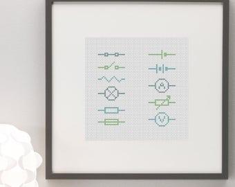Circuit Symbols Science Cross Stitch Pattern