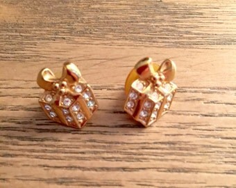 Vintage Avon Birthday Gift Earrings Rhinestone Gift Box Earrings Package Earrings