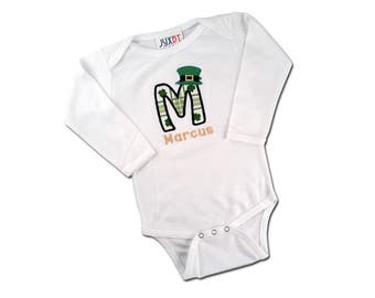 Baby Boy's St Patrick's Day Bodysuit with Shamrock Initial, Leprechaun Hat and Name