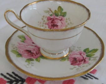 ROYAL ALBERT American Beauty Demi-Tasse English Crown China Cup and Saucer