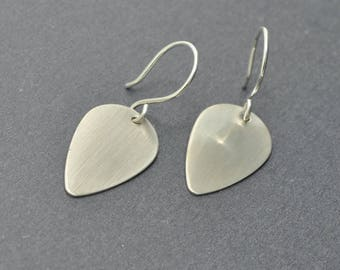 Sterling Silver Leaf Earrings,  Silver Disc Earrings, Guitar Pick, Silver Dangle Earrings
