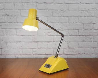 Vintage Yellow Desk Lamp, Mid Century Modern Hi Intensity Adjustable Task Light, Hamilton Industries H-19