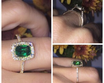 Emerald Diamond Engagement Ring Cushion Cut Center Natural Diamonds Halo 14k Yellow Gold Engagement Ring Wedding, Anniversary,ring