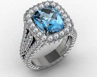 Aquamarine Diamond Engagement Ring 11x9mm Genuine Aquamarine 2.65ct Genuine Diamonds Platinum Diamonds Wedding Rings Pristine Custom Rings