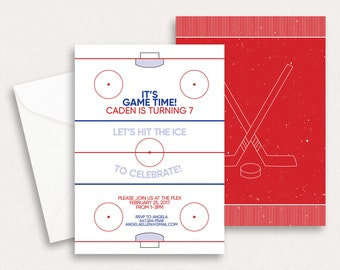 Hockey Birthday Invitation - Printable Birthday Invitation - Custom Invites - Hockey Birthday Party - Ice Skating Party - Boy Birthday Party