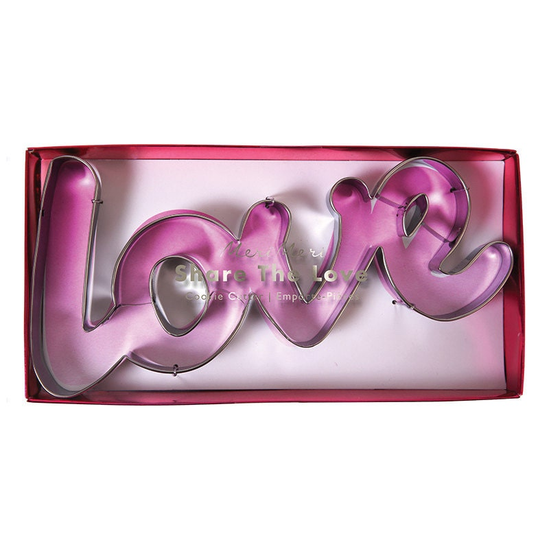 love cookie cutter meri meri cookie and fondant cutter valentines day cookie cutter engagement bridal shower wedding letter cookie cutter