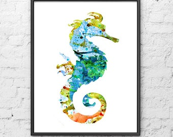 Nautical Art Print Seahorse Watercolor Painting - Home Decor - 250