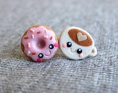 Miniature Food Jewelry, Food Earrings, Polymer Clay Food, Polymer Clay Jewelry, Donut Earrings, Dougnut Earrings, Funny Emo Coffee Earrings