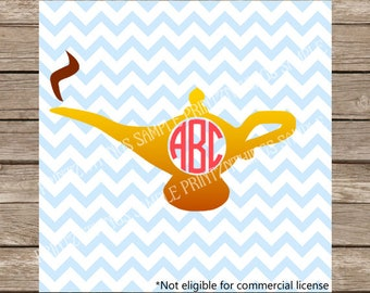 Disney SVG Aladdin svg Monogram svg Princess Jasmine Magic Lamp Genie Lamp SVG Cut File dxf svg Files for Cricut Silhouette Heat Transfer