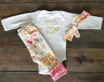 Worth the Wait Outfit - Baby Girl - Wait Outfit - Gold
