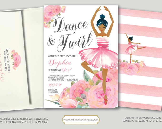 Ballet Birthday Invitation // Ballerina Pink Bridal Shower Invitation // Floral // Dance Invitation // Watercolor // MELBOURNE COLLECTION