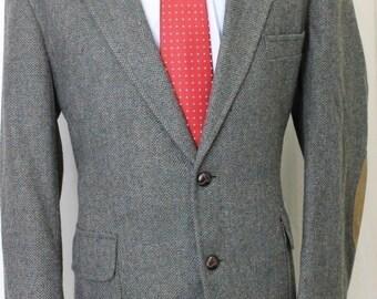Vintage 42R Pendlenton Dark Green Herringbone100% Wool Sport Coat Blazer Jacket AG6