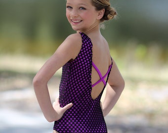 Magenta and net leotard. Dancewear