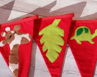 Jungle fabric bunting, nursery decor, cake smash prop, baby bunting, new baby gift