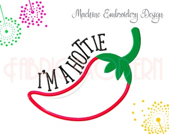 Hottie Chile Machine Embroidery Design, Red Chile Design, Applique' design, cute design, Chili pepper pattern,  5X7 and 6X8 hoop, #799