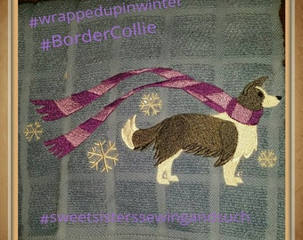Wrapped up in winter Border Collie kitchen towel