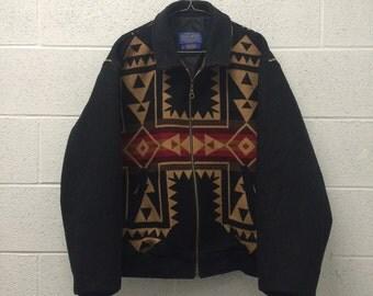 Vintage Pendelton navajo zipup wool jacket