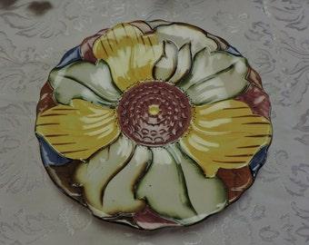 Hand painted Majolica flower plate H. J. Wood Burslem England