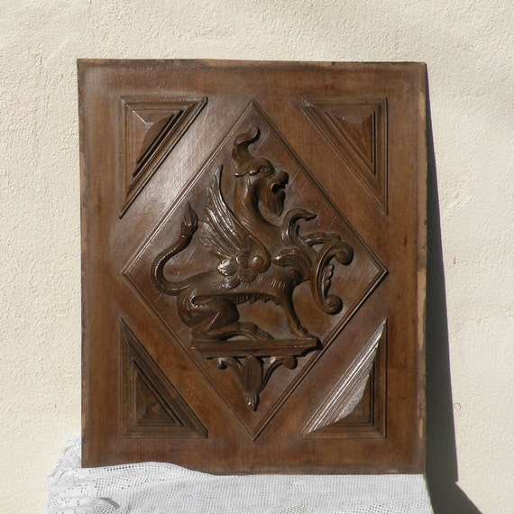 French antique wooden carved panel, carved wooden door panel, shabby chic, furniture salvage, antique griffins, Gothic carving, chateau chic