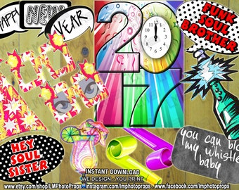 New Years Eve Props, New Years Party Photobooth Props, NYE Photo Booth, Photobooth Props, Holiday Decorations INSTANT DOWNLOAD diy Printable