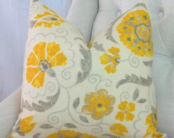 SALE // Yellow Pillow Cover // One Sided Pillow Cover // High End Designer Pillow // 0211097 Lemon Zest
