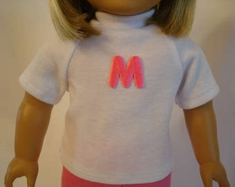 Personalized Monogrammed Initial Shirt for American Girl Dolls and 18-inch Dolls – White Knit Top With Hot Pink Initial