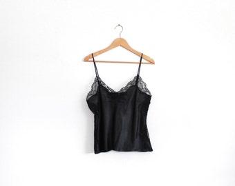 Black vintage lingerie silky lace cami