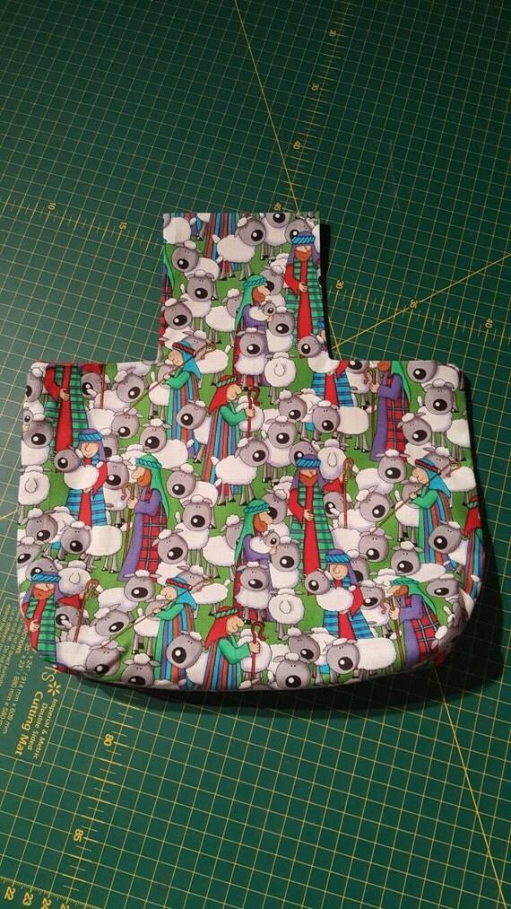 Christmas shepherds and sheep arm yarn bag