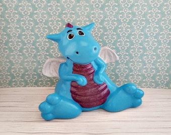 Teal Dragon Piggy Bank, Dragon Piggy Bank, Piggy Bank, Bank, Baby Bank, Teal Piggy Bank, Dragon Bank, Dragon Nursery Decor, Baby Dragon
