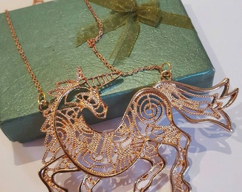 Rose Gold Tone Unicorn Necklace Mystical, Last Unicorn