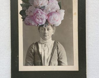 original mixed media, vintage photograph, flowers, garden