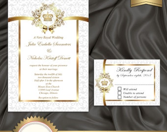 printable royal wedding invitation set white and gold crown invitation elegant wedding invitation
