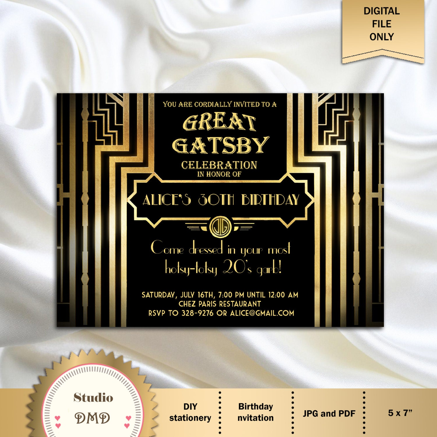 great gatsby style art deco birthday party invitation 21st