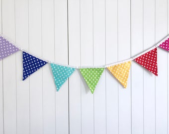 Polka Dot Rainbow Bunting - Multi-coloured Banner - Rainbow Flags - Rainbow Fabric Banner - Child Party Decor - Kids Bedroom Decor