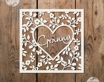 SVG / PDF Granny Heart Frame Design - Papercutting / Vinyl Template to cut yourself (Commercial Use)