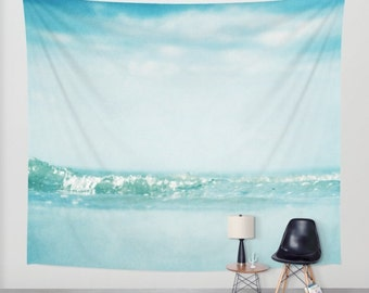 SALE Ocean  Tapestry. Home Decor. Large Size Wall Art. Photo tapestry, dreamy tapestry mint decor abstract nursery decor mint sea blue
