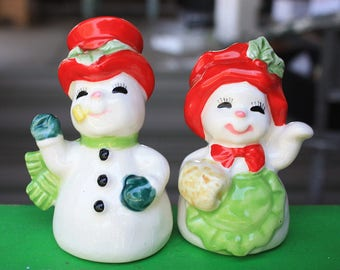 REDUCED Vintage Snowman Salt Pepper Shakers Japan 1950s Figurines Decorations Collectibles
